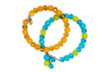 bracelets of colored semiprecious stones