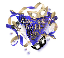 Beautiful masquerade banner with masks, beads,  bottles and glasses of champagne and ribbons. Gold and Black. Vector illustration