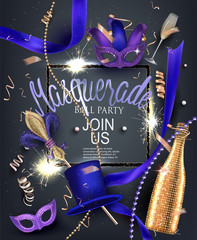 Beautiful masquerade banner with masks, beads, sparklers,  bottles and glasses of champagne and ribbons. Vector illustration