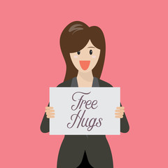 Business woman showing free hug sign