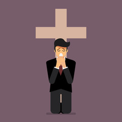 Sadness man is on his knees and prays to god
