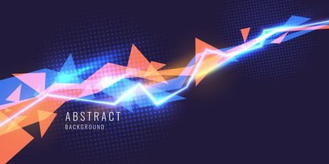 Abstract background with neon lines and triangle.