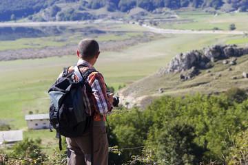 hiker on mountain peak on matese park
