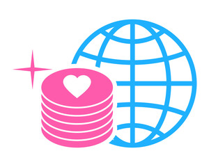 pink coin love heart icon image vector icon