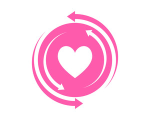 pink heart love circle arrow image icon vector