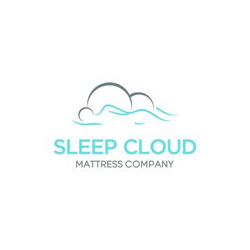 sleep on the cloud vector logo template design vector