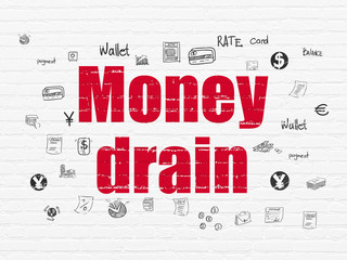 Money concept: Painted red text Money Drain on White Brick wall background with  Hand Drawn Finance Icons