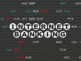 Banking concept: Painted white text Internet Banking on Black Brick wall background with Currency