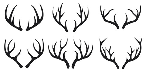 Deer antlers black icons set on white background