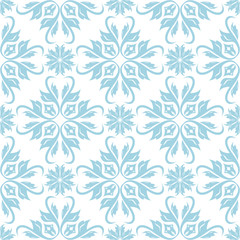 Blue floral seamless design on white background