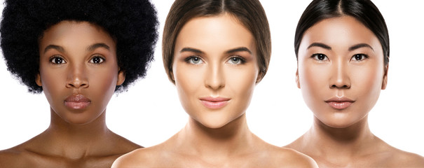 Different ethnicity women - Caucasian, African, Asian.