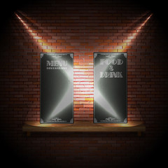 Restaurant menu wall and light