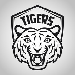 Black tiger head mascot on white background