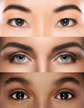 Different female eyes