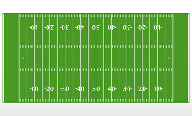 American football field markup. Outline of lines on an American green football field.