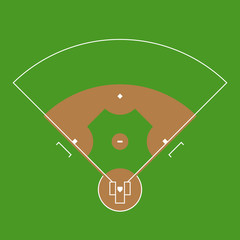 Baseball field markup. Outline of lines on an baseball green field.