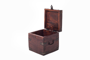Open wooden brown box isometric