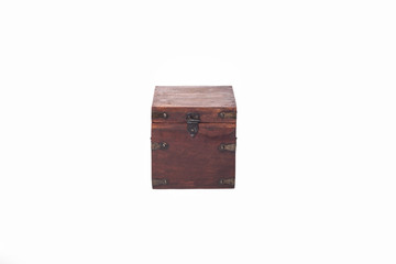 Closed wooden brown box