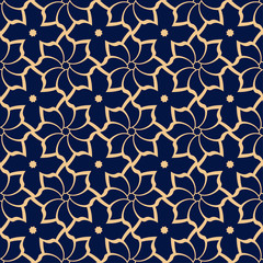 Golden flowers on blue background. Ornamental seamless pattern