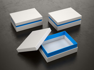 Opened and Closed White Boxes on black background - Box Mockup, 3d rendering