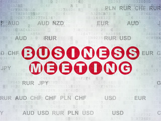 Finance concept: Painted red text Business Meeting on Digital Data Paper background with Currency