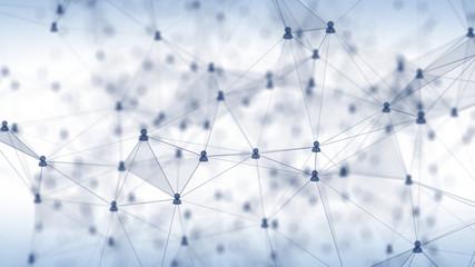 Concept of Social Network, internet communication. 3d illustration