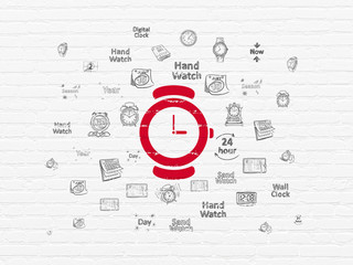 Timeline concept: Painted red Hand Watch icon on White Brick wall background with  Hand Drawing Time Icons