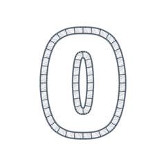 0 Film Strip Letter Logo Icon Design