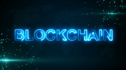 Abstract glowing digital text Blockchain with connecting dots and flares. 3D rendering