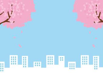 桜とビル群のメッセージイラスト素材