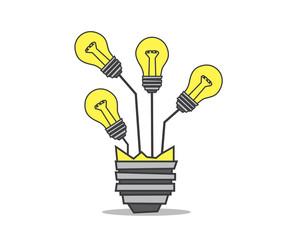 light bulb tree cartoon design