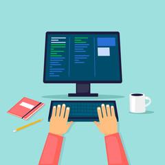 Programmer, works at the computer. Flat design vector illustration.