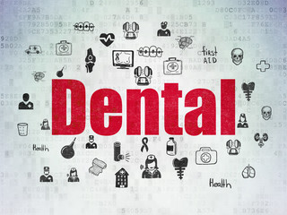 Health concept: Painted red text Dental on Digital Data Paper background with  Hand Drawn Medicine Icons