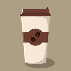 Paper coffee Cup with lid and emblem with coffee beans. Take-away coffee. Coffee to go. Vector illustration in flat style.