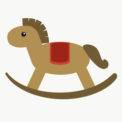Cute brown rocking horse for children. Flat style vector illustration.