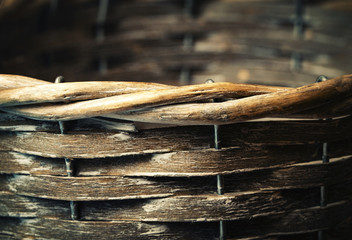 detail of a wooden basket