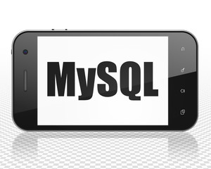 Software concept: Smartphone with black text MySQL on display, 3D rendering