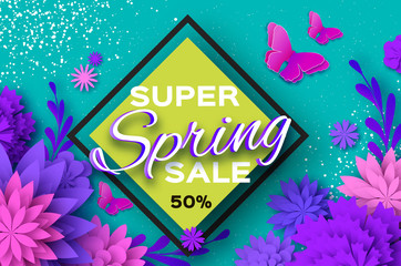 Origami violet Super Spring Sale Flowers. Butterfly. Paper cut Floral card.Happy Womens Day. 8 March. Text. Seasonal holiday on blue. Rhombus frame. Spring Sale Poster, Flyer, voucher discount.