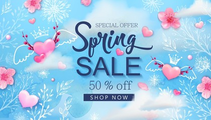Spring sale banner with cherry blossoms, flowers