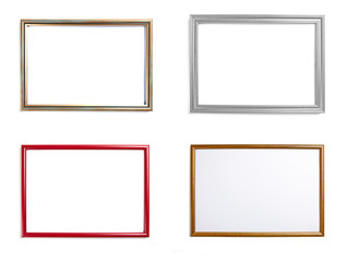 Set of frames for paintings or photographs on white background.