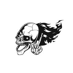skull flying logo vector illustration.