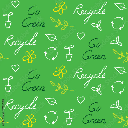 Ecology Seamless Pattern With Recycling Symbol And Text Stock Image