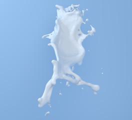 milk splash and drop isolated on blue background 3D  illustration for design milk white chocolate splash artwork