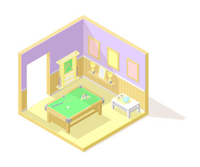 Vector isometric low poly cutaway interior illustartion. Billiard or pool room with snooker table, balls, cues, champion cups and other furniture and decoration