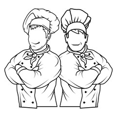 Chef in uniform. Cook logo. Chef Hat. Professional chef.