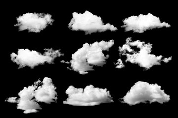 Set of White cloud on black