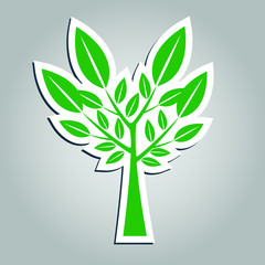 Symbols, tree icon green with beautiful leaves,Vector illustration