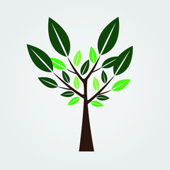 Symbols, tree icons with beautiful leaves,Vector illustration