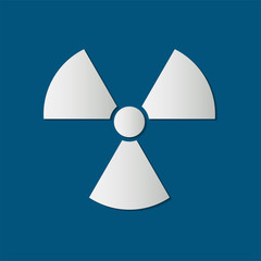 radiation icon,radiation symbol,White icon on blue background