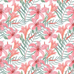 Seamless delicate floral pattern.Pink flowers , Lily,on a white background.